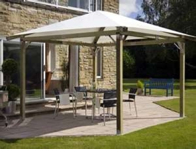 Most Canopy Awnings Have Two Standard Roof Styles Hip And Pyramid Since The Structure Is Permanent Many Homeowners Also Install Outdoor Lighting On